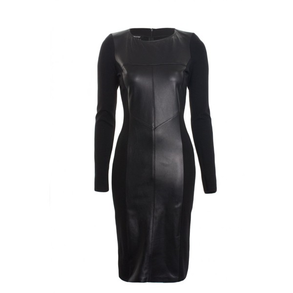 Isabel De Pedro Dress Long Sleeve Leather in Black - Polyvore