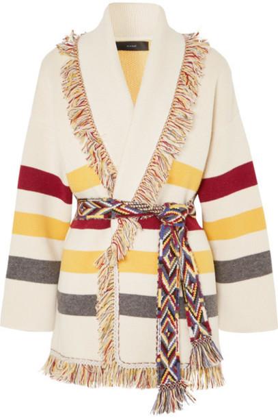 Alanui cardigan cardigan jacquard knit cream sweater