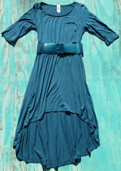 dress,blue,high low dress,belted dress,3/4 sleeves