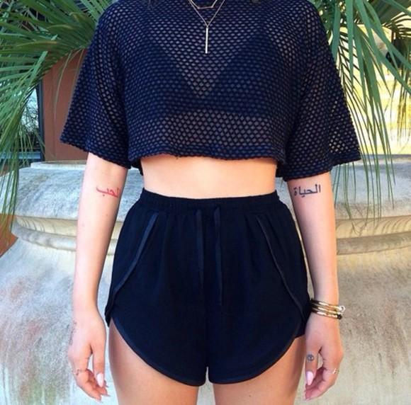 bracelets necklace top mesh shirt bra