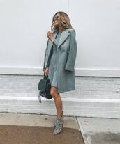coat,wool coat,grey coat,double breasted,mini dress,knitted dress,ankle boots,snake print ankle boots,backpack,sunglasses