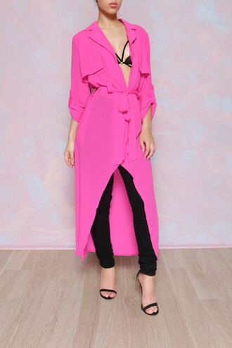 coat trench coat hot pink chiffon sheer polyester waist tye belt