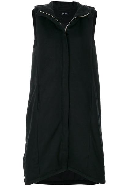 coat sleeveless zip women cotton black