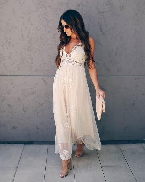 PREORDER - Exclusively Yours Lace Mixed Fabric Maxi Dress