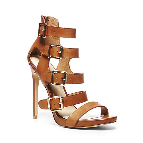 RECITAL COGNAC LEATHER women's dress high ankle strap - Steve Madden