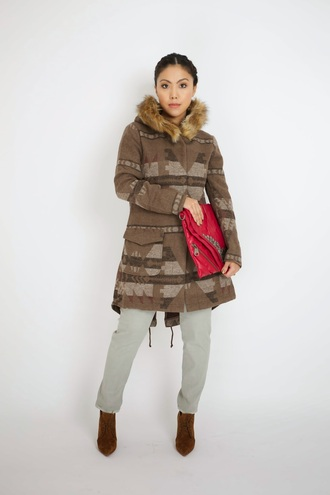 wearing fashion fluently blogger coat pouch red dress aztec