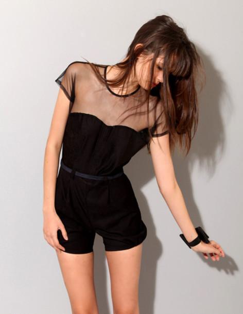 black jumpsuit romper sheer belted cute black pants dress romper grunge jumpsuit