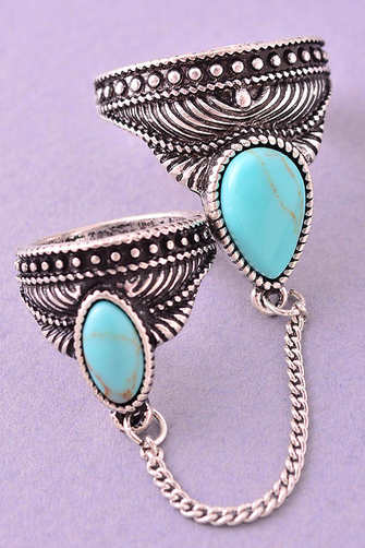 Bohemian Turquoise Linked Knuckle Ring