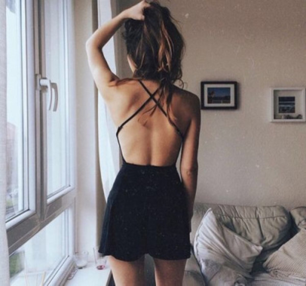 romper criss cross back backless romper x cross back x cross criss cross straps backless criss cross black dress black black romper girl brunette sexy summer outfits