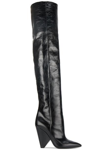 Saint Laurent women over the knee leather black black leather shoes