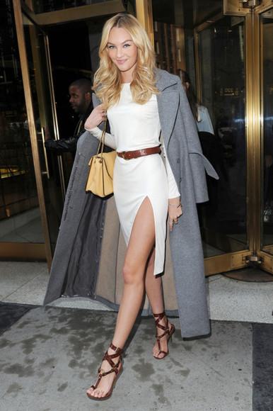 victoria's secret candice swanepoel shoes victoria's secret model grey coat white dress brown belt brown shoes yellow bag