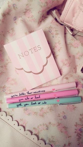 home accessory notebook cool cute pastel funny pencils light pink quote on it desk back to school school supplies stationary