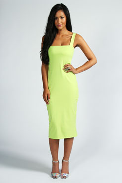 da9ebe03028 Jen Square Neck Bodycon Midi Dress at boohoo.com
