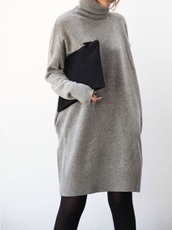 sweater,grey,grey sweater,sweater dress,turtleneck,long sweater,grey dress,oversized turtleneck sweater