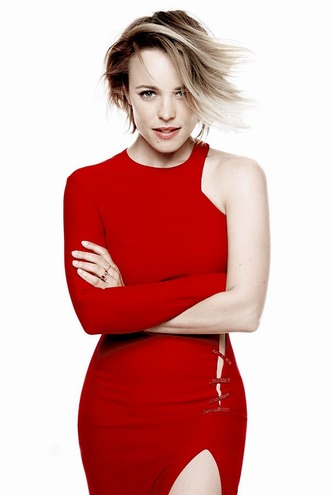 dress red one shoulder red dress rachel mc adams slit dress editorial short hair
