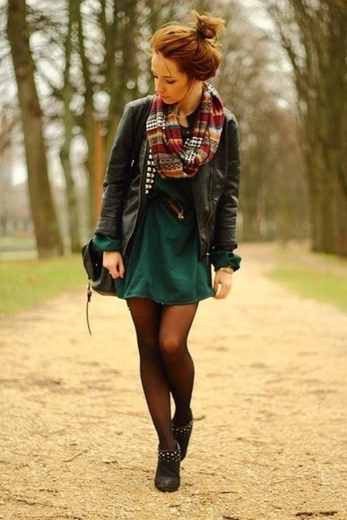 dress teal dress blue scarf jacket winter blue dress cute dress green tights leather jacket fall layering bun boots bag black autum shoes autumn