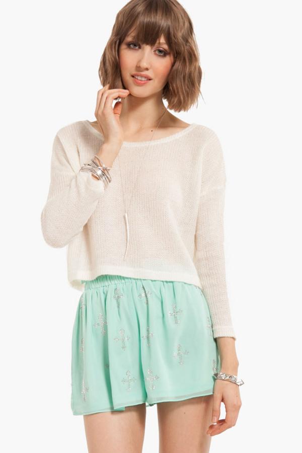 Sequin Cross Shorts - TOBI