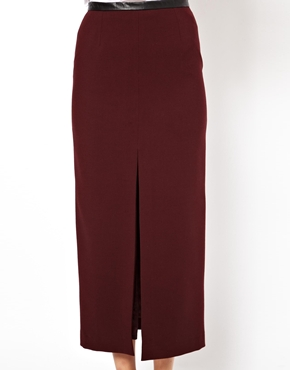 ASOS | ASOS Pencil Skirt with Split Front and PU Waistband at ASOS