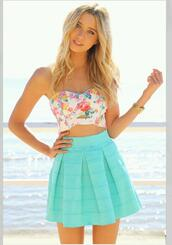 tank top,floral tank top,pretty,skirt,turquoise,shirt,crop tops,bralette,bustier,white,floral,roses,summer,beach,white crop tops,tube top,tube t,flower tank top,top,blue,colorful,sun,blue skirt,colorful top,t-shirt,dress,blonde hair,corset,pink,yellow,green,blue tank top,flowers,girl,clothes,weheartit,bandeau top,muscle tee,blouse,high waisted aqua skirt,floral bustier crop top,skiet,aqua,floral crop top,tube skirt,white pink floral,pink blue skirt,teal,pleated,tirquoise,lovely,flower pattern,floral bandeau shirt,blue skater skirt,stylish,hair accessory,nice,sweet,fashion,summer outfits,pastel,sky blue skater skirt,cute top,summer shirt,fabulous,floral blouse,summer top,strapless,style,tumblr,bandeau,floral bandeau,flowy,bandau,pleated skirt,cute,mint,tumblr outfit,tumblr dress,hipster dress,pastel dress,floral dress,floral strapless,high waisted skirt,it needs to be teal blue with the same detailing .,blue shirt,white with flowers,skater skirt,bag,cute dress,summer dress,tan