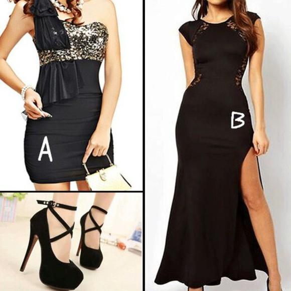 lace up evening dress black dresses sexy dress glitter dress sequin dress stapless short sleeve dress