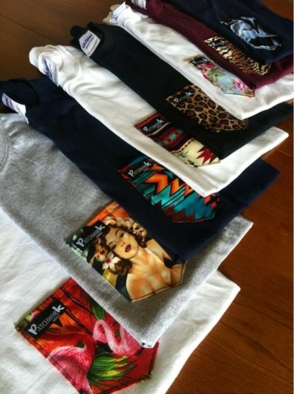 shirt patchwork t-shirt pocket t-shirt printed t-shirt