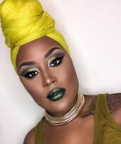make-up,metallic lipstick,metallic,eye makeup,eyeliner,eye shadow,eyebrows,eyelashes,choker necklace,gold choker,necklace