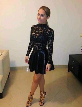 dress black mesh long sleeves faux leather skirt wingedheels shoes gold top