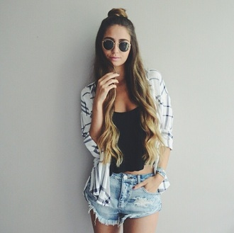 shirt top shorts square checked shirt blouse jacket black top black tank top black crop top crop tops high waisted shorts ripped shorts denim shorts denim sunglasses rayban rayban sunglasses cardigan