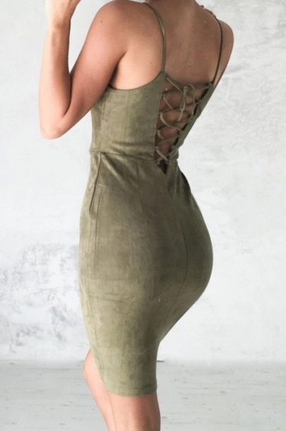 dress girly girl bodycon bodycon dress sexy sexy dress suede dress midi dress olive green lace up