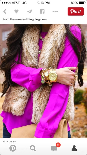 top vest faux fur