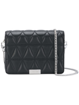 triangle women quilted handbag leather black bag