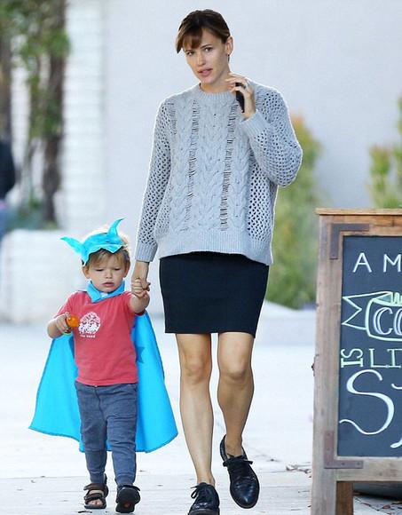 knitwear Jennifer Garner sweater skirt winter/autumn shoes kids fashion