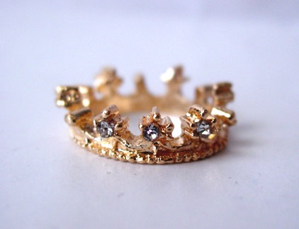 Diamond gold crown ring by majesticencounters on etsy