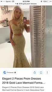 dress,gold lace prom dress