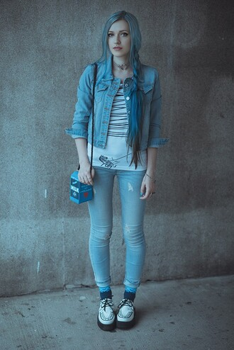 anya anti anita anti blog blogger denim jacket skinny jeans light blue jeans creepers milk mini shoulder bag