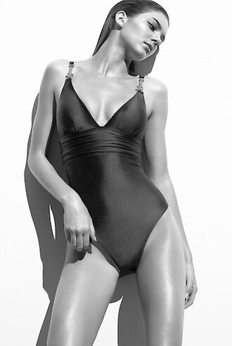 swimwear kendall jenner monokini black sexy black and white keeping up with the kardashians