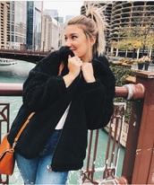 jacket,black,fuzzy sweater,furry coat,zip-up