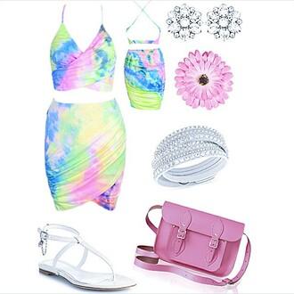 dress raw glitter rainbow summer summer dress two-piece colorful two piece dress rainbow dress tye dye tyedye tye dye dress