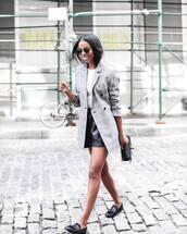shoes,black loafers,leather shorts,short shorts,blazer,white t-shirt,handbag,sunglasses