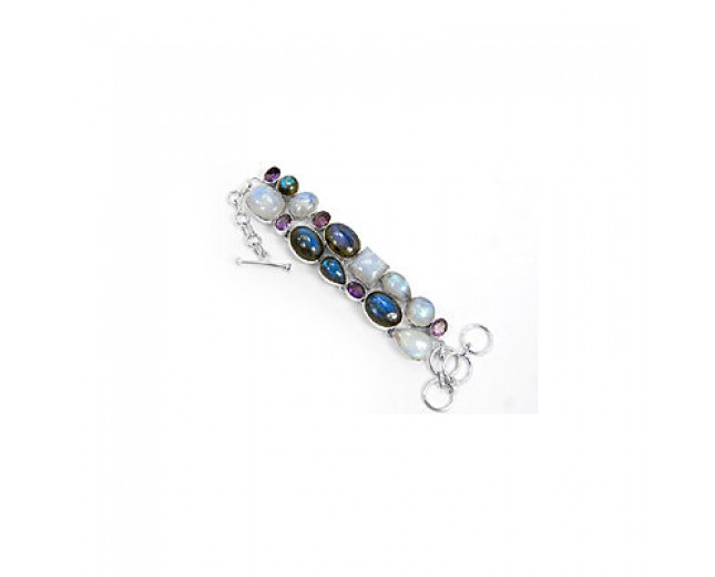 Awesome 925 sterling silver Rainbow Moonstone And Amethyst LabradoriteGemstone Cluster Bracelet