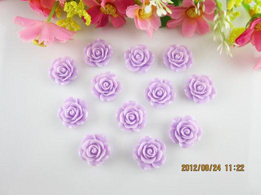Diy new 16pcs purple resin rose flower flatback appliques for phone/wedding/craf