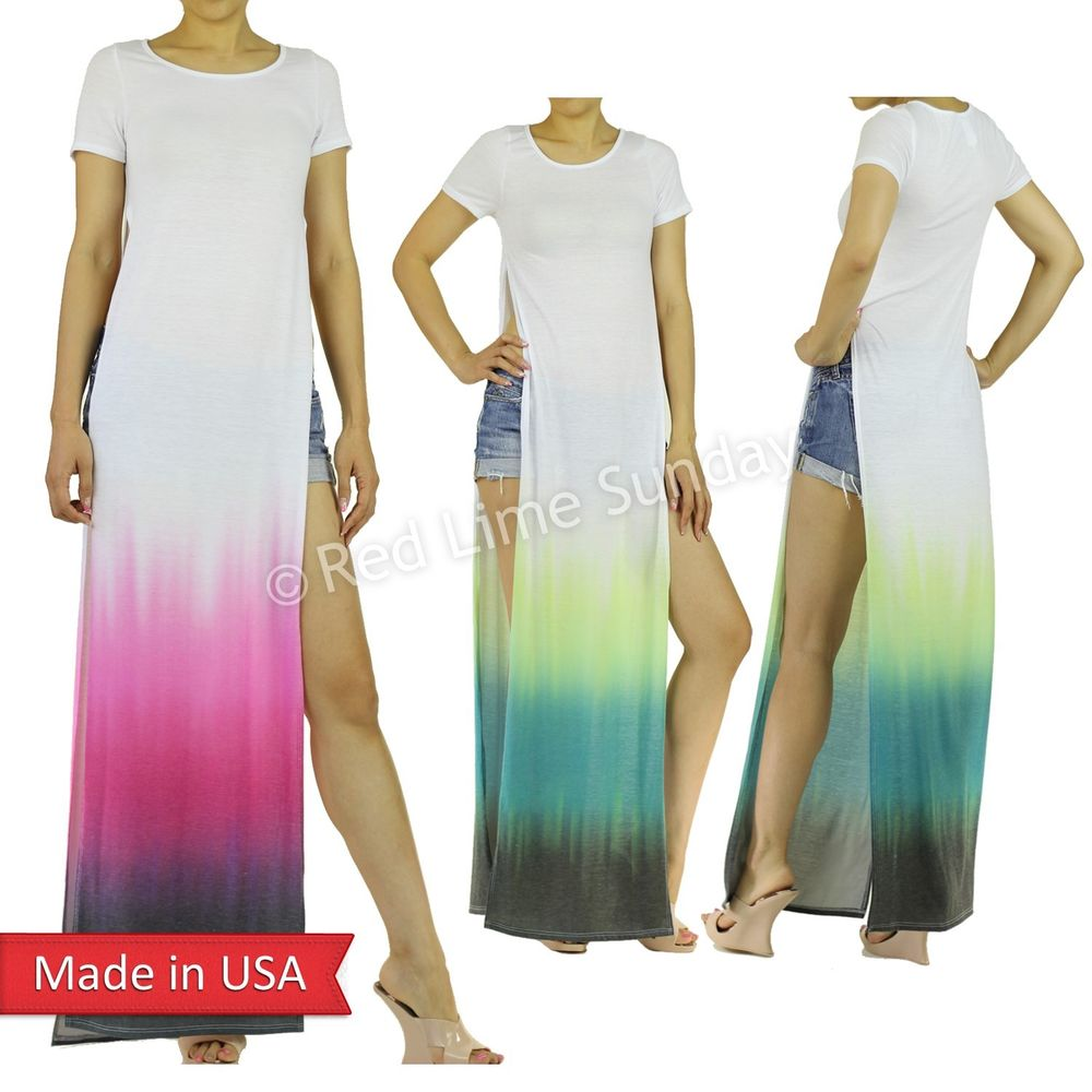 New Ombre Dipped Color Double Side Slits Split Long White T Shirt Maxi Dress USA