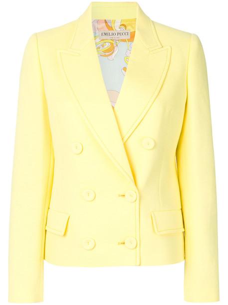 Emilio Pucci blazer women cotton yellow orange jacket