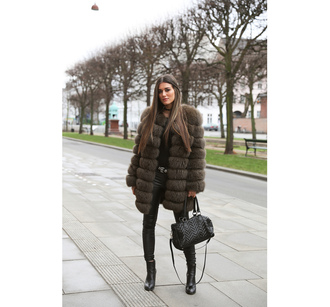 ilirida krasniqi blogger jeans shoes bag belt fur coat winter outfits handbag black bag