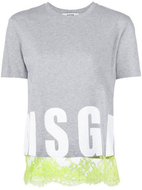MSGM t-shirt shirt t-shirt women cotton print grey top