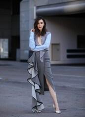 inspades,blogger,skirt,shoes,jewels,pumps,shirt,wrap ruffle skirt,heel