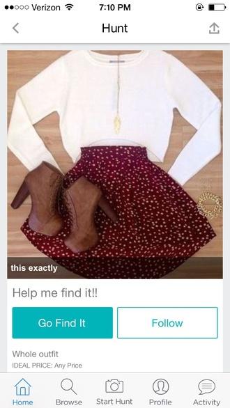 skirt polka dots style white pattern skater skirt red red skater skirt
