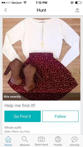 white pattern skirt style red red skater skirt polka dots skater skirt