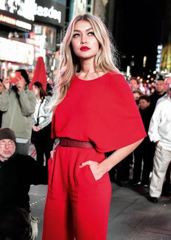 Jumpsuit Red Jumpsuits Belt Gigi Hadid Celebrity Style