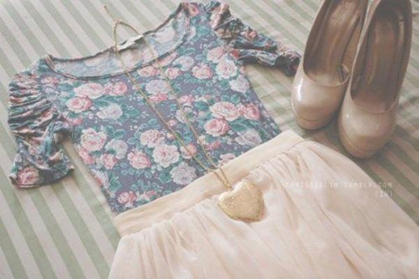 shirt floral skirt t-shirt